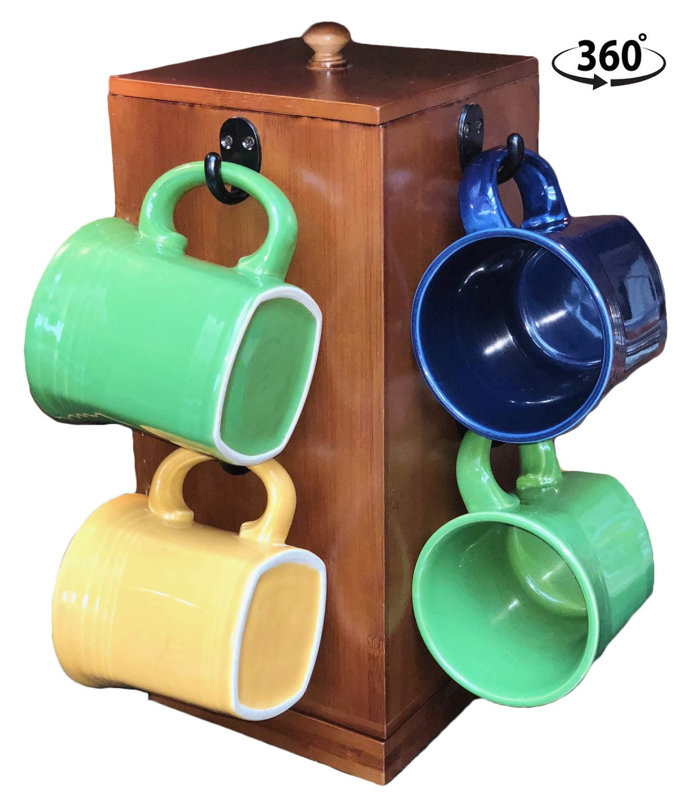 Autumn Alley Bamboo Rotating Coffee Mug Rack with Coffee Pod Storage | Built-in Airtight Kitchen Canister | Eco-Friendly | Timeless Design I Easy Access to Mugs, Coffee Pods | Declutter Counter Top by Autumn Alley
