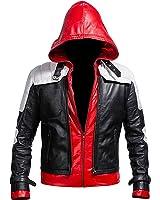 Batman Arkham Knight Red Hood Black & White Costume Leather Jacket