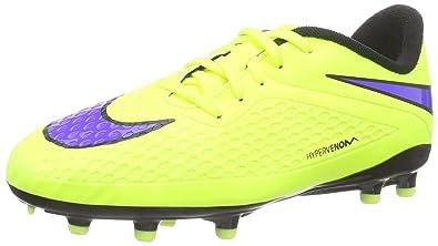Nike Kids Jr Hypervenom Phelon Fg Volt/Persian Violet/Black Soccer Cleat 3  Ki