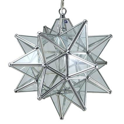 Moravian Star Pendant Light, Clear Glass, Silver Frame, 12