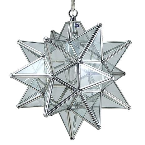 Moravian star pendant light clear glass silver frame 12 moravian star pendant light clear glass silver frame 12quot aloadofball Choice Image
