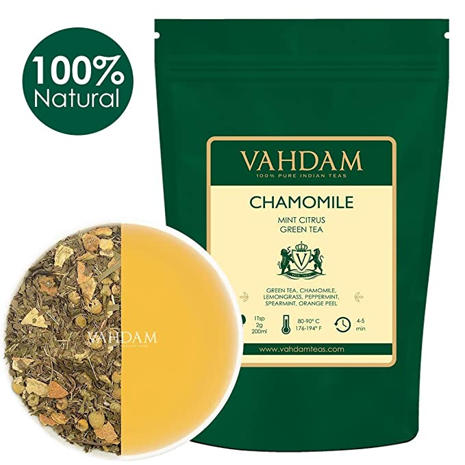 150 opinioni per Tè verde in foglie con camomilla e menta (100 tazze)- Tè purificante per perdere