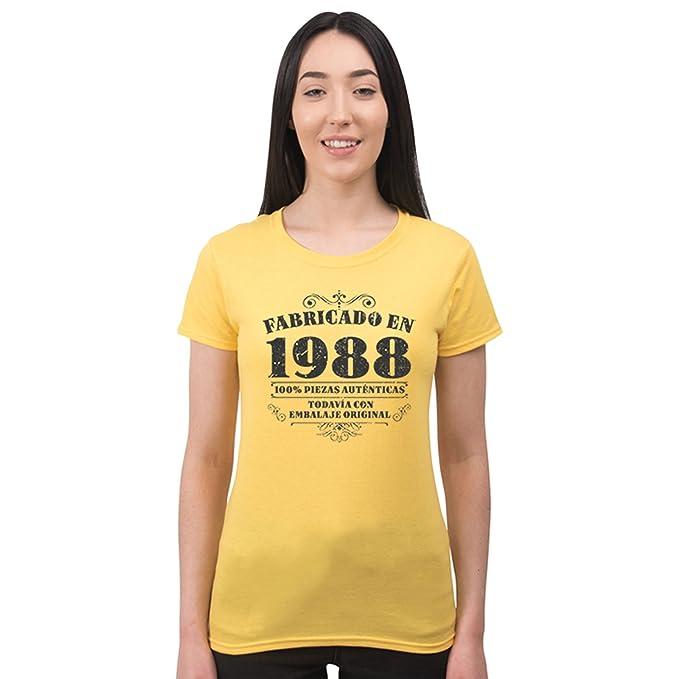 Bang Tidy Clothing Camiseta de Mujer para Regalo de 30 cumpleaños Manufactured 1988 en Amarillo Talla