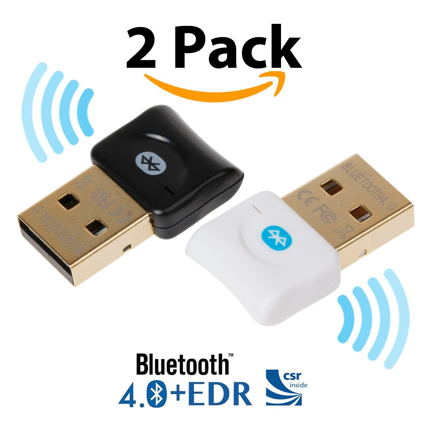 Bluetooth CSR 4.0 USB Dongle Adapter, EKSEN Bluetooth Transmitter and Receiver for Windows 10/8.1/8 / 7 / Vista - Plug and Play on Win 7 and Above - Black and White
