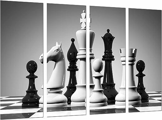 Cuadro Fotográfico Juego de Mesa Ajedrez, Blanco y Negro, Piezas, Fichas Tamaño total: 131 x 62 cm XXL: Amazon.es: Hogar