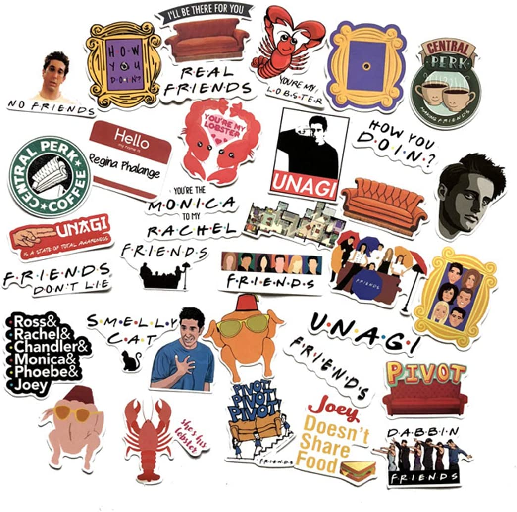 Friends Themed Decal Stickers Waterproof Vinyl Scrapbook Stickers Car Motorcycle Bicycle Luggage Decal 34pcs Pack (Friends Themed)