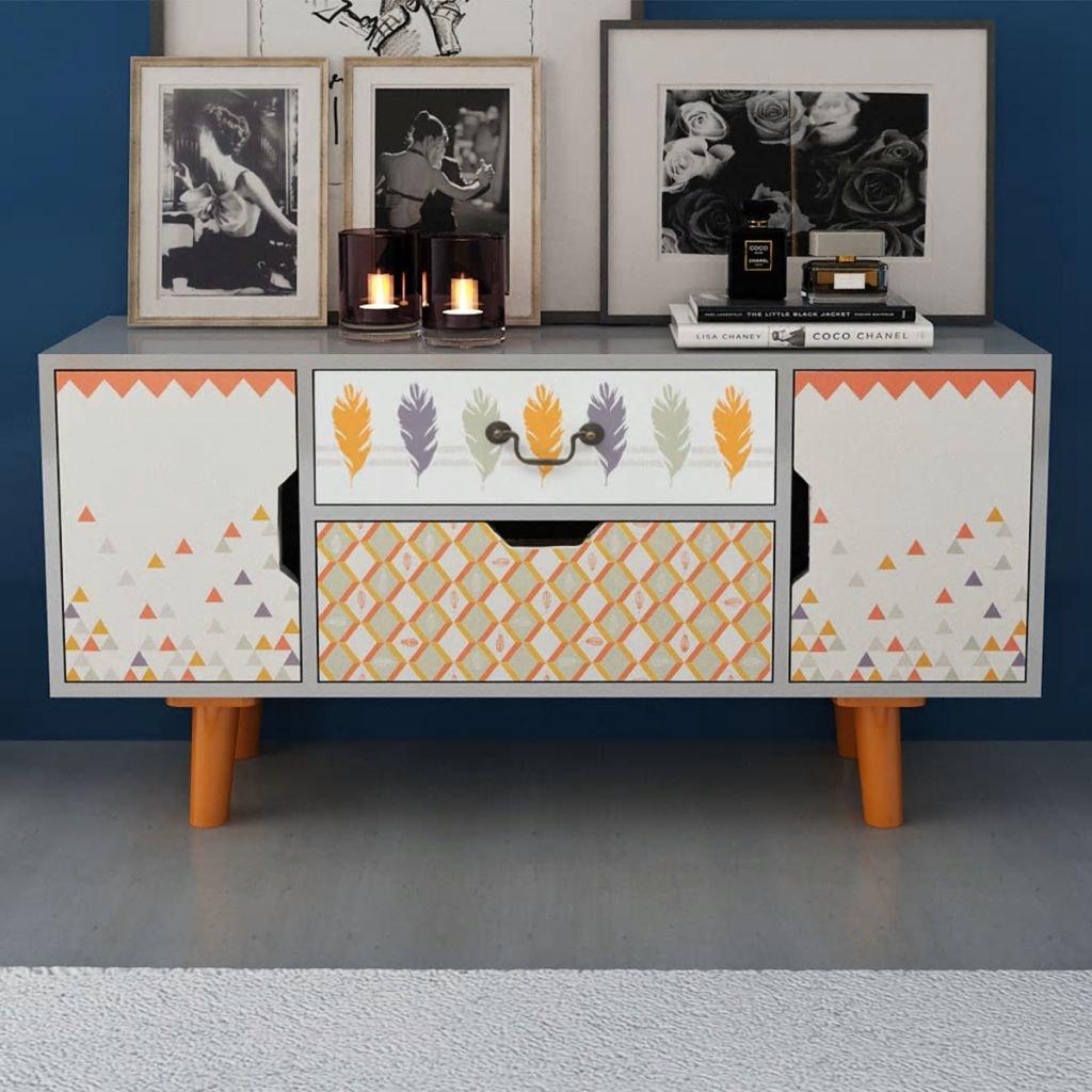Tidyard Sideboard Scandinavian Tabletop High Board Side Cabinet MDF 39.4 Inches x11.8 Inches x19.7 Inches with 2 Drawers 2 Storage Gray