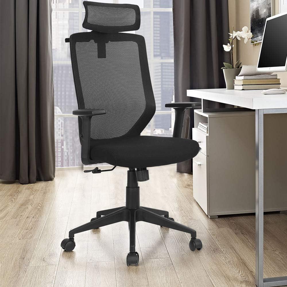LUCKWIND Ergonomic Office Desk Chair Mesh - Adjustable Headrest Armrest Height Tilt Lumbar Support High Back Fabric Executive Conference Task Computer Desk Wheel Caster 350lbs Big Tall (BIFMA Tested)