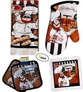Chef Decor - Towel Linen Set (6 Pc) Fun Fat Chef Spaghetti Ristorante Cafe Themed - Kitchen Towel 2 Potholders 2 Scrubber Dishcloths 1 Oven Mitt - Oven Mitts - Kitchen Decorations