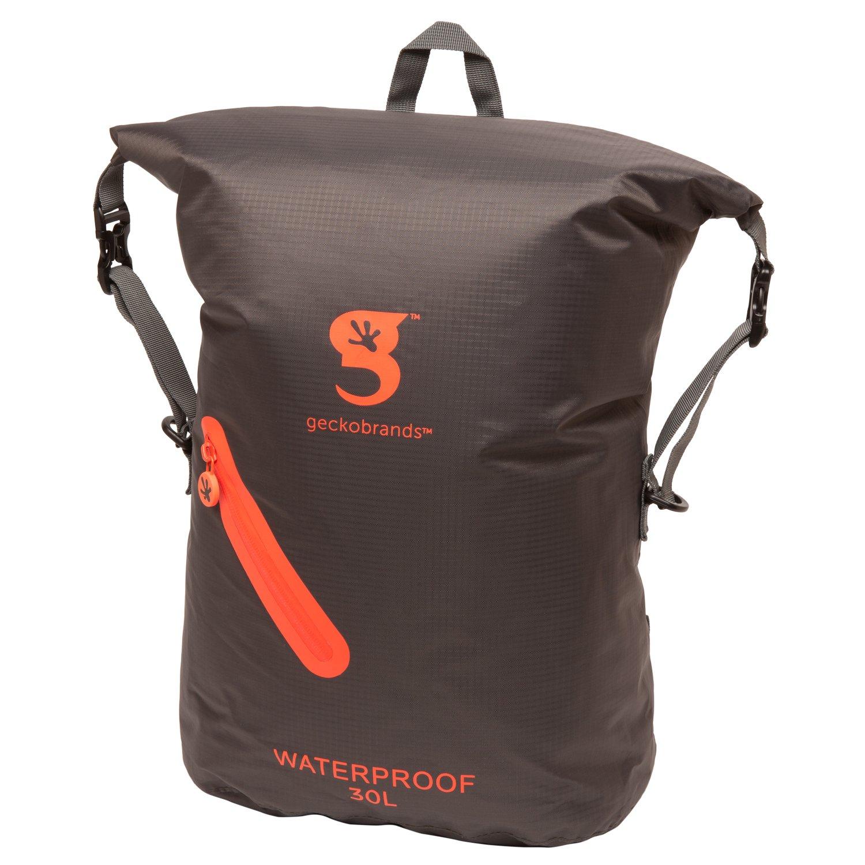 geckobrands Waterproof 30L Lightweight Backpack- Black Green