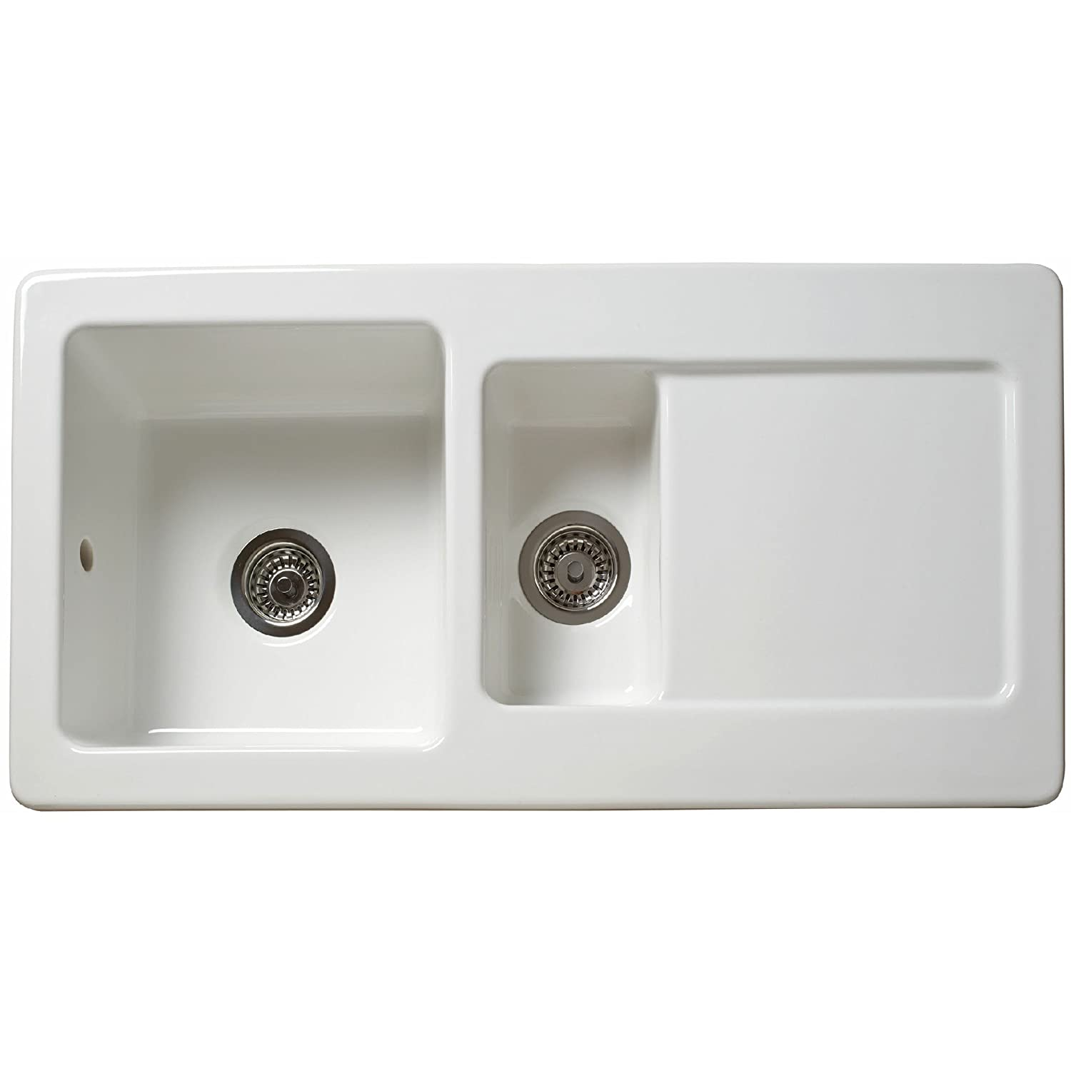 Reginox RL501CW 1.5 Bowl Reversible Inset Ceramic Sink White ...