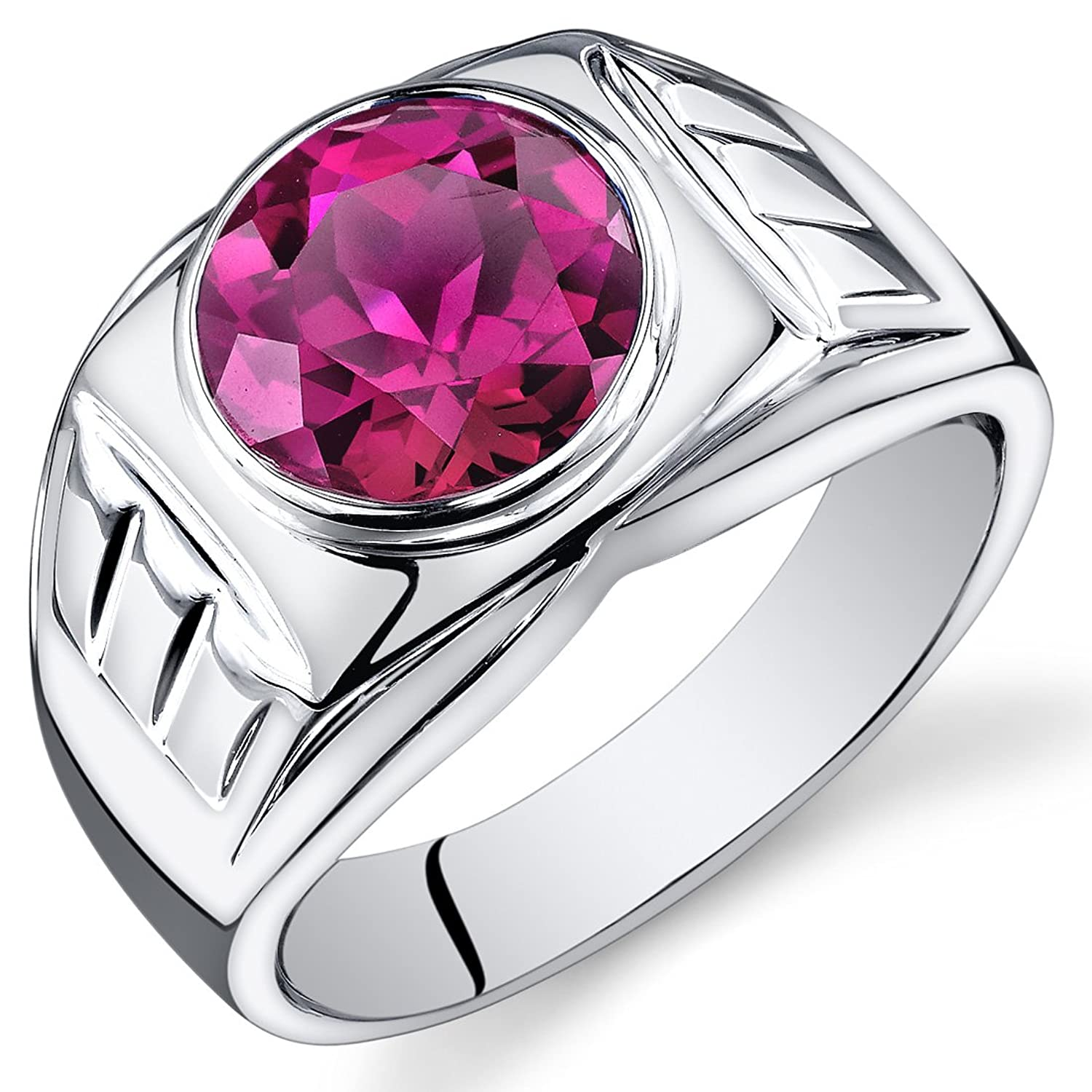 Mens 550 Carats Created Ruby Ring Sterling Silver Sizes 8 To 13