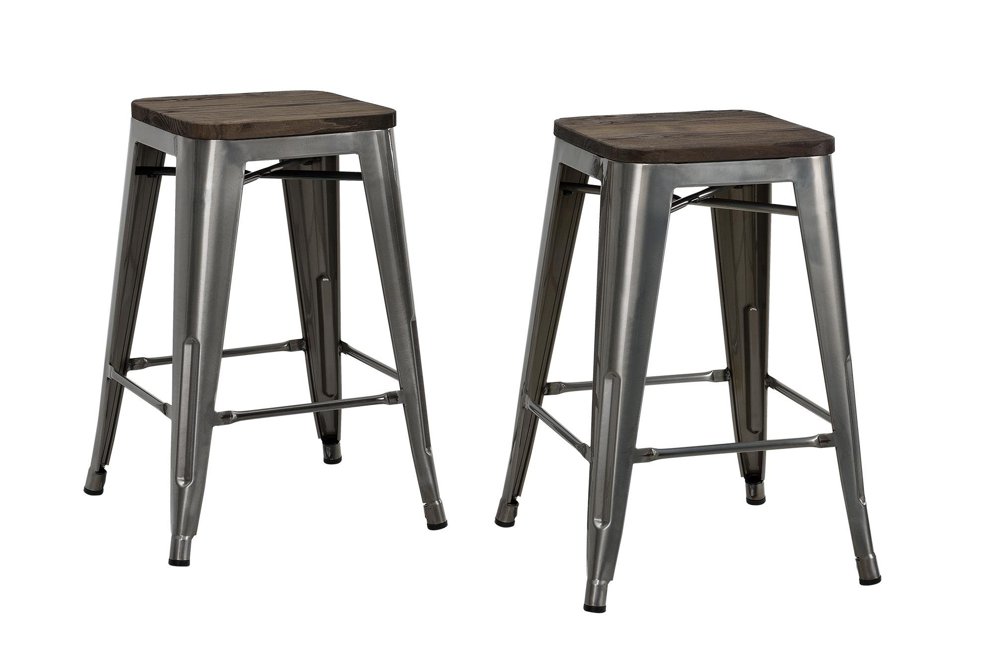 DHP Fusion Metal Backless 24'' Counter Stool with Wood Seat, Distressed Metal Finish for Industrial Appeal, Set of two, Antique Gun Metal by DHP