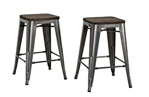"DHP Fusion Metal Backless 24"" Counter Stool with Wood Seat, Distressed Metal Finish for Industrial Appeal, Set of two, Antique Gun Metal"