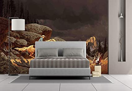 Large Wall Mural Sticker [ Western,Rock Mountain Scene Landscape With A  Cowboy Riding Horse