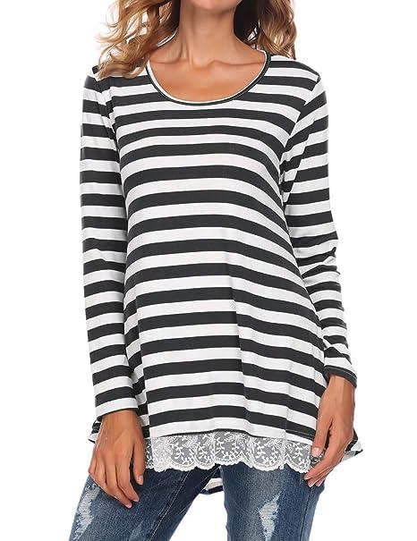 3eb1d7bd27ac Sherosa Women's Lace Tunic Tops Long Sleeve Tunic Shirts Long Blouses for  Winter (S,
