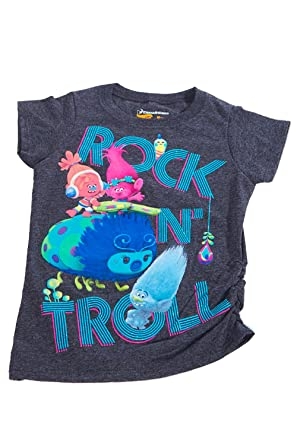bc73b9cb585a Amazon.com  Kids Girls Casual Short Sleeve Trolls Graphic T-Shirts ...