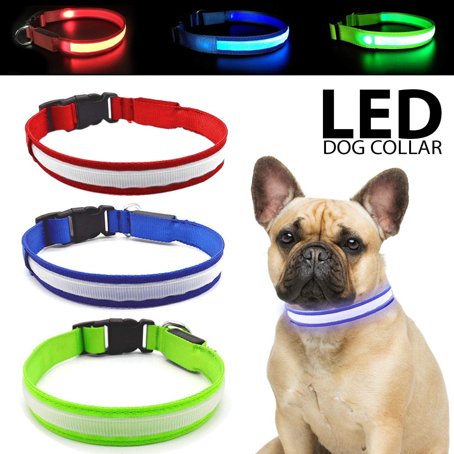 Talis LED Light-Up Dog Collar (Micro-USB, New Upgrade 2019) Improved Pet Safety &Visibility at Night Waterproof Collar Fits for Small Medium Large Dogs 3 Flashing Modes