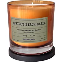 Soy Candle , Highly Scented, Hand Poured, 8.1 oz (Apricot Peach Basil)