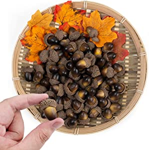 "BigOtters Artificial Acorn, 100PCS Fake Nutty for Home Vase Filler Decor, 1.2"" x 0.8"""