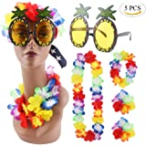 CCINEE Pineapple Sunglasses & 4pcs Hawaiian Lei Flower Garland Fancy Dress Set For Tropical Hawaian Luau Theme Party
