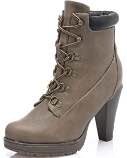RANCH' Women's Lace-up [Lightweight] Chunky Sole Ankle Combat Boots with Side Zipper