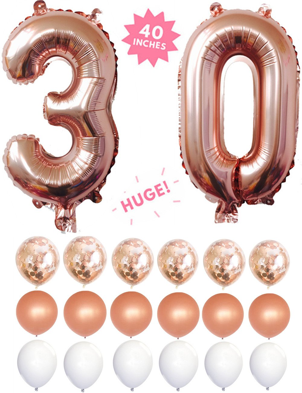 30th Birthday Decorations,30 Rose Gold 40 '' Number Balloons Foil Mylar With Rose Gold Confetti Balloons & 12 Latex Balloons For Anniversary