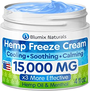 Hemp Cream for Pain Relief - 15000 mg - Made in USA - Hemp Oil & Menthol Blend - Cooling & Soothing Effect - for Inflammation, Joint, Back, Knee, Nerves Pain & Sore Muscles -100% Natural Hemp Extract