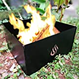 SILVERHERO Foldable Campfire Portable Fire Pit Ring 4 Panels Stackable Heavy Iron and Finished with High Temperature Paint with Carry Bag, Black