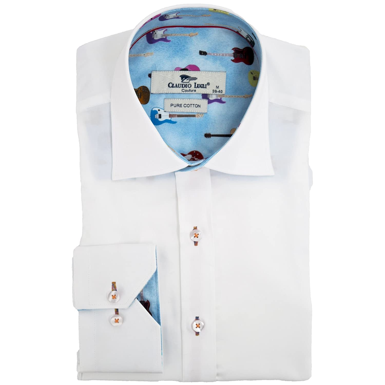 Claudio Lugli Dark Rose and Check Print Mens Long Sleeved Shirt Large Black