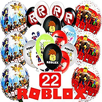 16PC Latex Foil Roblox Supplies Decoration Party Theme Birthday Banner red Black Silver (16 pc Set): Jewelry