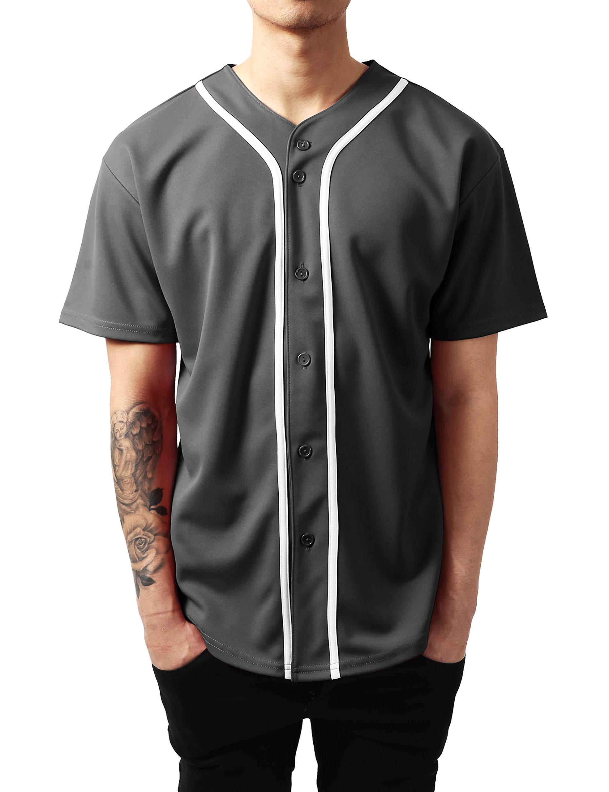 Ma Croix Mens Premium Baseball Jersey Active Button Shirt Team Uniform (Medium, 1up01_Charcoal/White) by Ma Croix