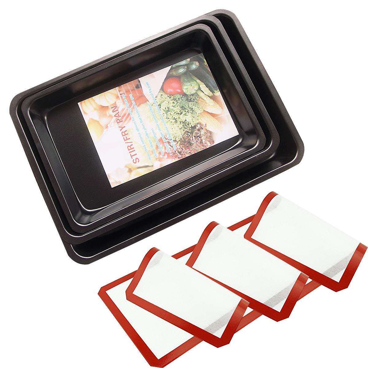 Backblech 3-teilig, Carbon Stahl, einfach zu reinigende, Antihaft-Beschichtung (28,5 * 19,5 * 3,5 cm) (31,5 * 21,5 * 3,5 cm) (34,5 * 24,5 * 3,5 cm) mit 3 Backmatten (rot) CMYKZONE