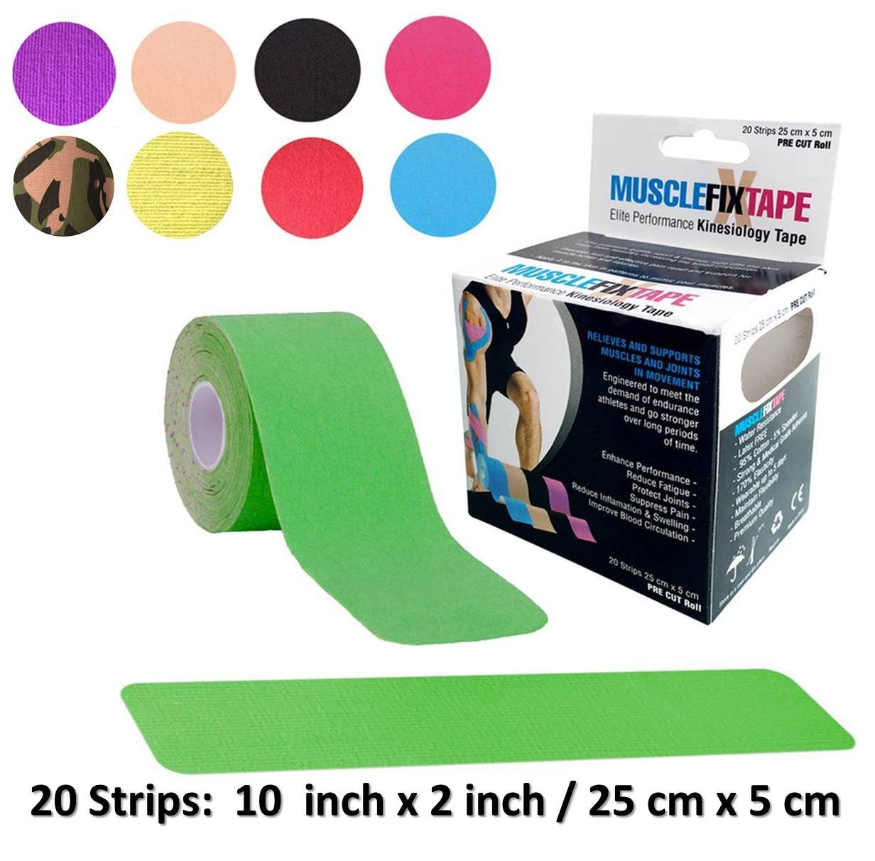 Green MUSCLE FIX Kinesiology Recovery Sports Athletic Injury Therapeutic Support Tape Precut PRO Kinesio Roll Shoulder Knee Lower Back