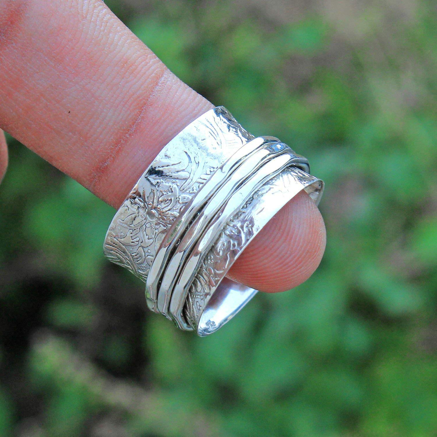 925 sterling silver spinner ring spinner rings women textured ring meditation wide band ring spinner ring handmade ring spinner band silver ring fidget ring spinning jewelry gift for girlfriend