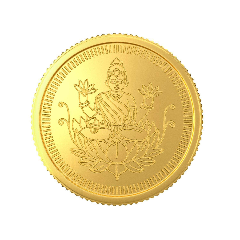 Joyalukkas 22k 916 1 gm bis hallmarked yellow gold precious coin with lord lakshmi design
