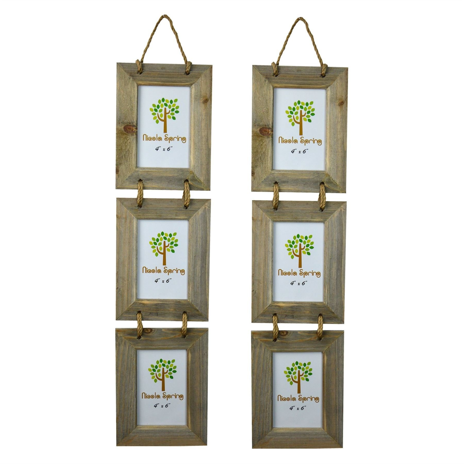 Nicola Spring Triple Wooden 3 Photo Hanging Picture Frame - 4 x 6'' - Pack Of 2
