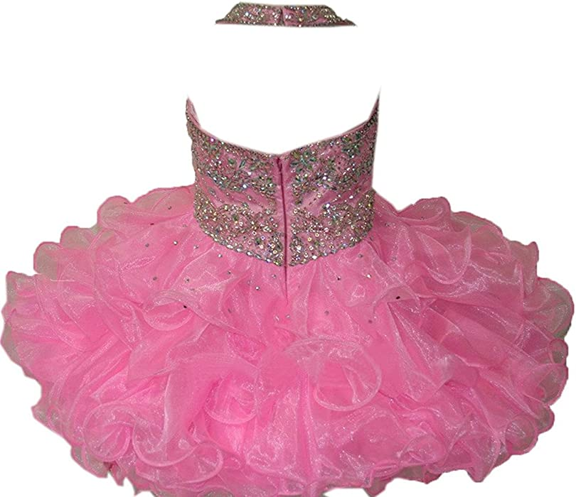 e6f56e06b97ae Amazon.com  MSJME Infant Girls  Halter Beaded Kids Gorgeous Pageant ...