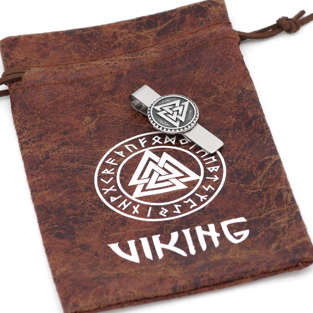 Jewellery with Valknut Rune Gift Bag GuoShuang Nordic Viking Valknut Amulet Stainless Steel Tie Clips for Man and Women