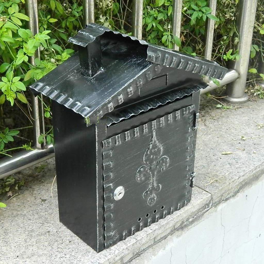 RMJAI メールボックス ウォールマウントメールボックス、レターボックス、メールボックス、庭のドアポストボックス、ヴィンテージ錬鉄製の防水ポストボックス   B07R824J79