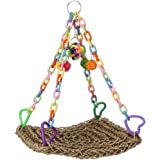 Bird Toys - Handmade Seagrass Swing Bird Cages Toys for Parrot Conure Cockatiel Parakeet
