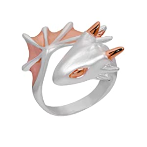 Rose Snow Dragon Ring by MONVATOO London, a free-size (adjustable band) 18k pink gold and silver plated dragon ring jewelry