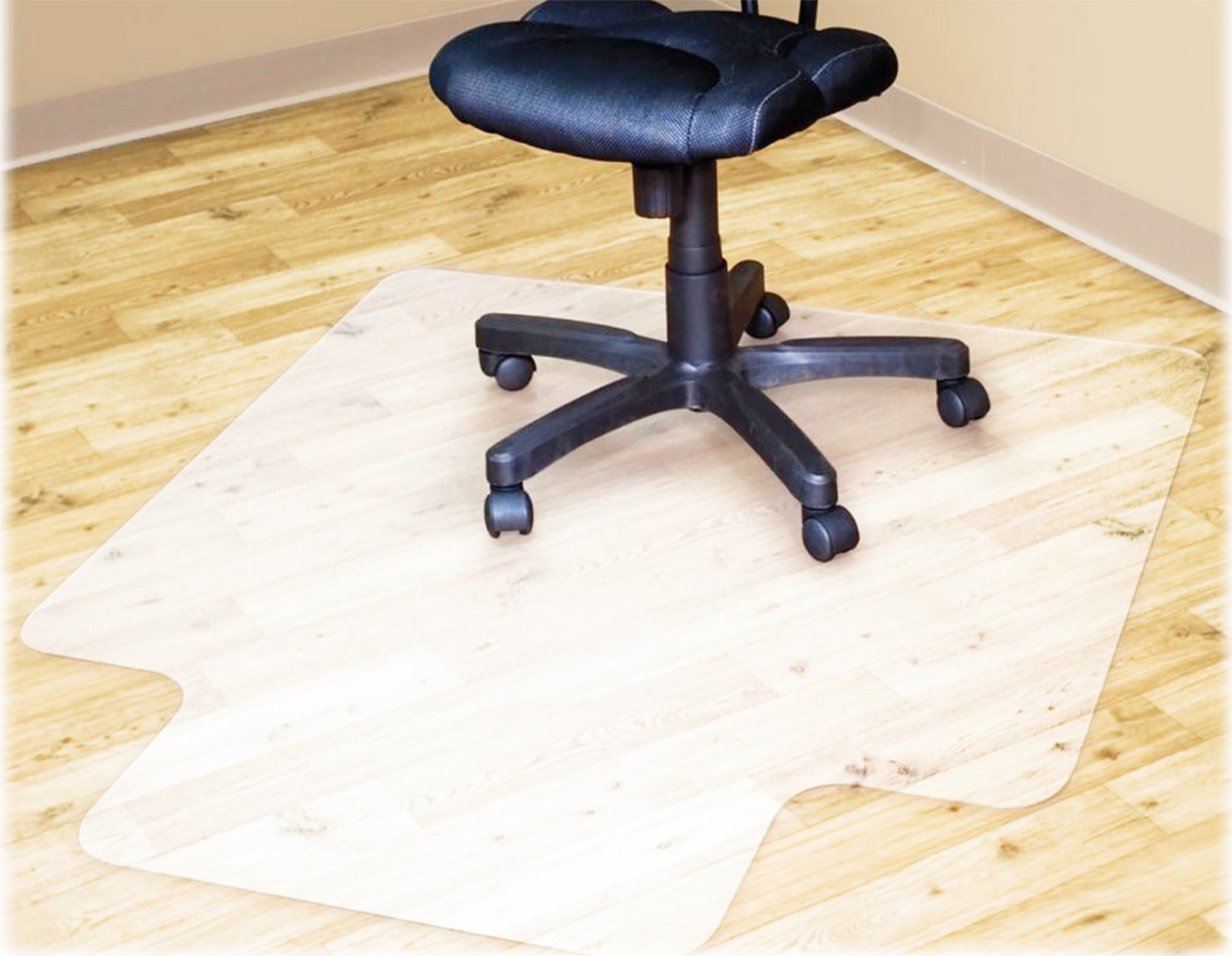 Polytene Office Chair Mat 48''x36''Hard Floor Protection with Lip Anti Slide Coating on The Underside,Semi Clear