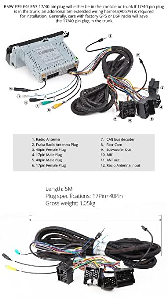 71sh8DeJShL._SY606_ amazon com eonon a0579 extended installation wiring harness for,Wiring Harness Bmw Cable 40 Pin Extended Installation