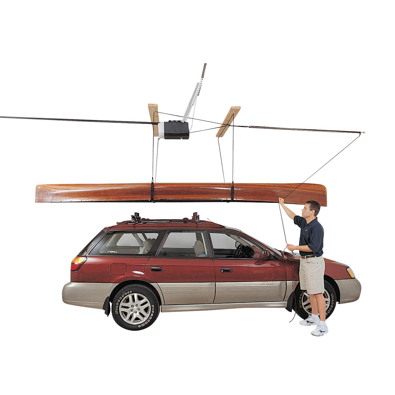 HARKEN SUP, Canoe, and Kayak Garage Storage Ceiling Hoist   4 Point System   for 16ft Ceilings, 45lbs Max Load   3:1 Mechanical Advantage   Easy Lift, Single-Person, Hanger, Pulley, Paddleboard, Boat