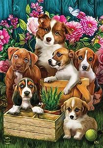 Briarwood Lane in The Garden Spring Garden Flag Dogs Puppies 12.5