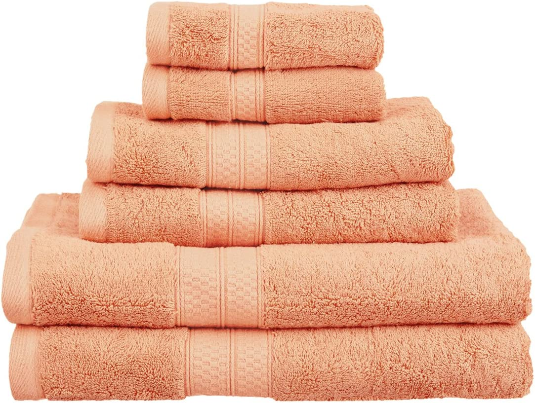 Superior Rayon from Bamboo and Cotton Bathroom Towels, Velvety Soft and Super Absorbent, Hotel & Spa Quality 6 Piece Towel Set with 2 Bath Towels, 2 Hand Towels, and 2 Washcloths - Salmon