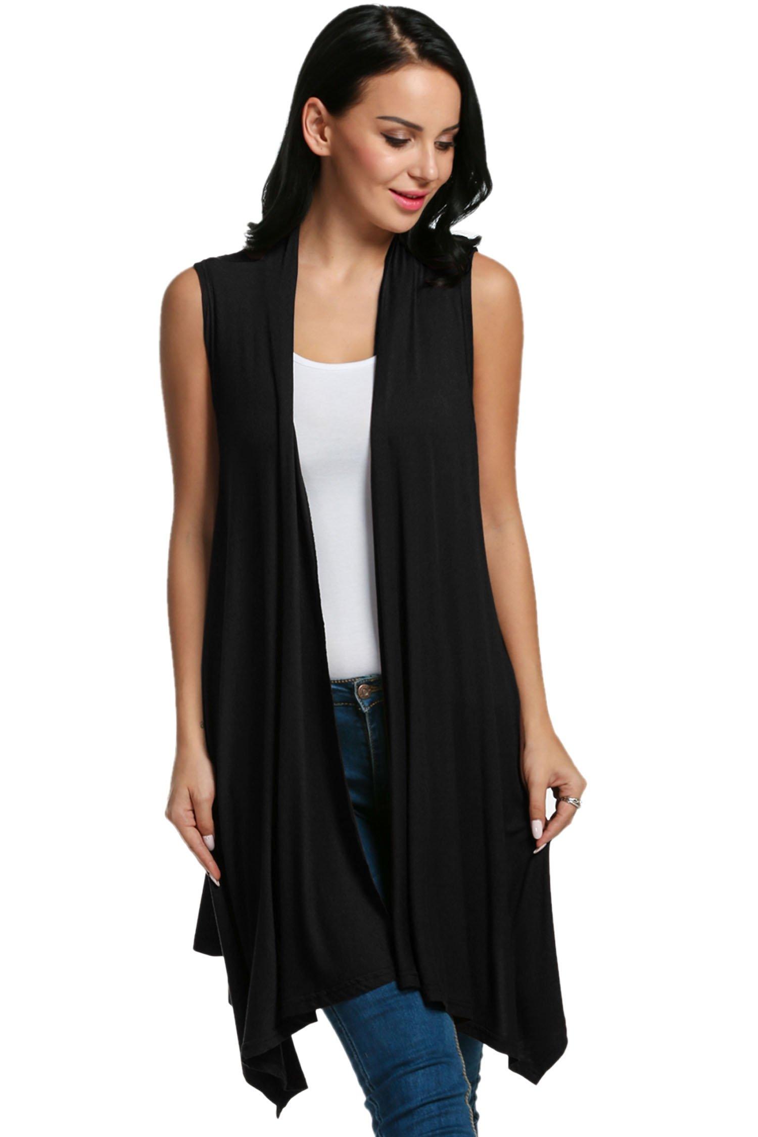 Beyove Women's Asymetric Hem Sleeveless Open Front Drape Cardigan Sweater Vest Black M