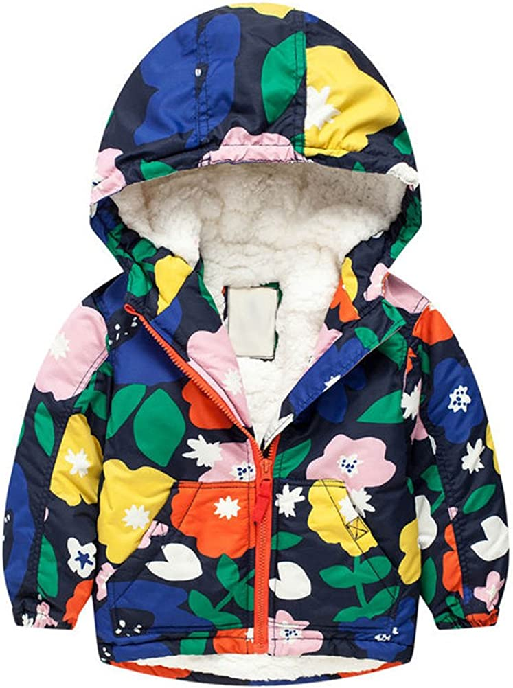 Cute Lamb Wool Lined Jackets Cotton Padded Parka Star 2T-XL ACE SHOCK Winter Coats Little Girls Hooded