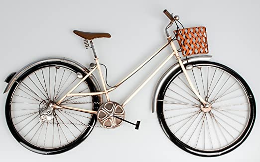 Palazzo Int pared decorativa pared bicicleta de metal, color crema ...